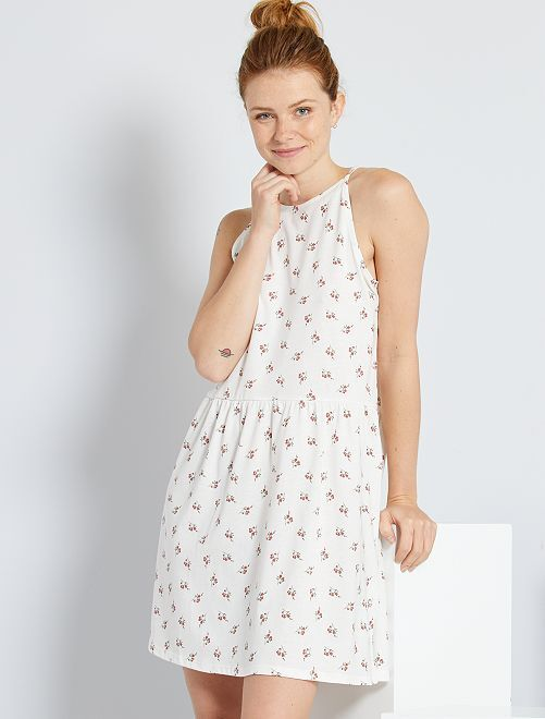 Robe courte à fines bretelles                                                                                 blanc fleuri