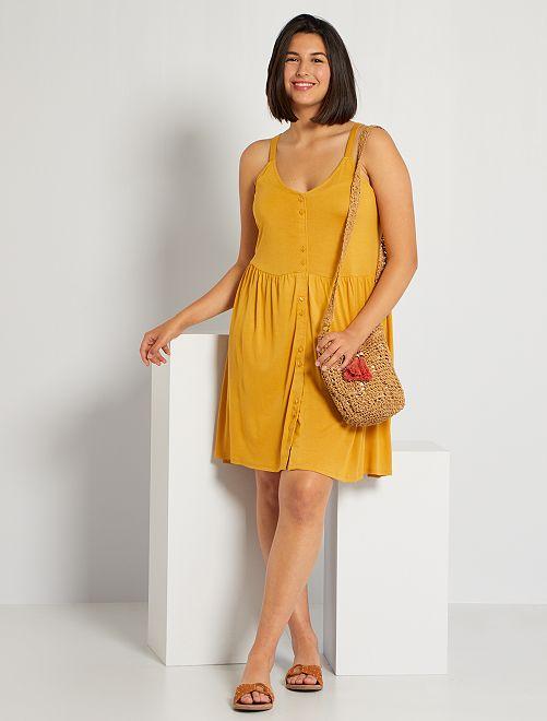 Robe courte à fines bretelles                                         jaune