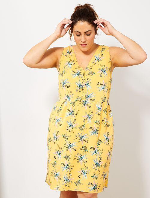 Robe courte avec dos croisé                                 jaune Grande taille femme