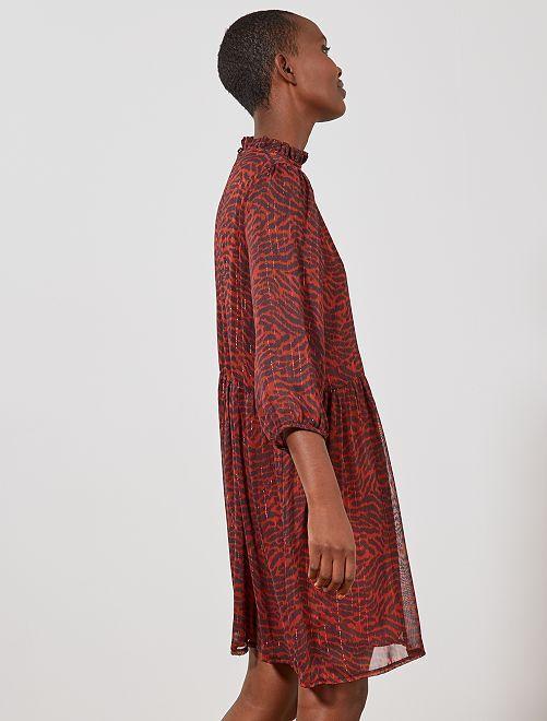Robe courte avec fils métallisés                                         ikat Femme
