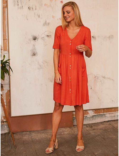 Robe courte boutonnée                                                                                         orange