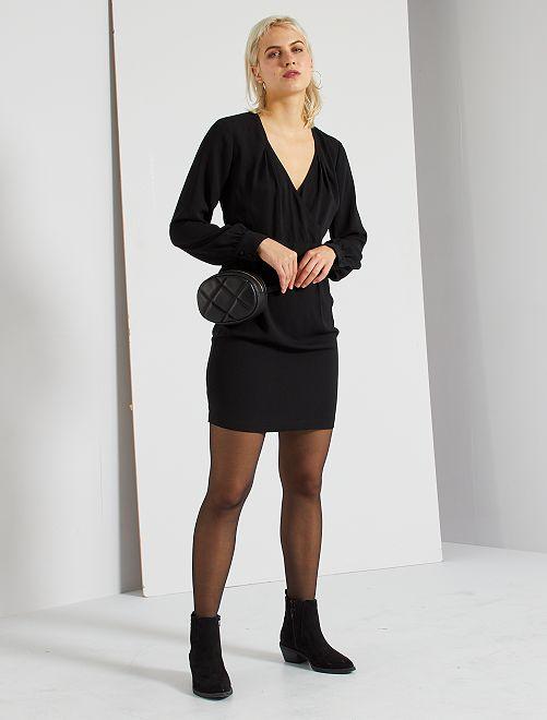 Robe courte cache-cœur                             noir
