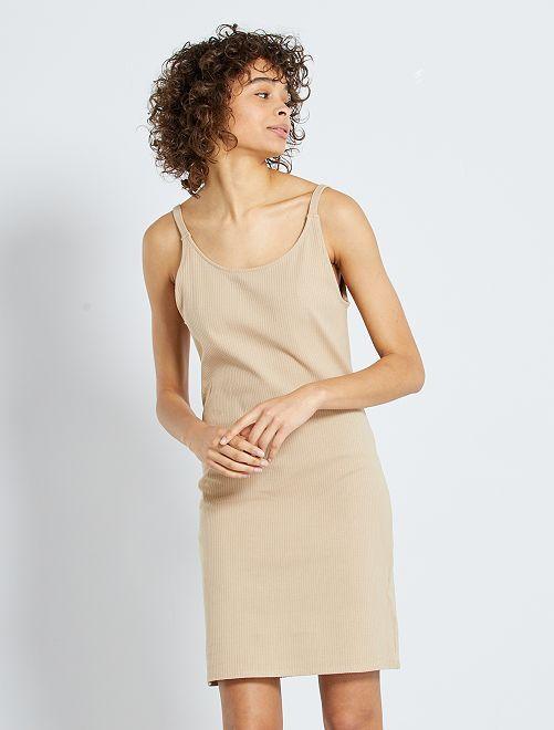 Robe courte côtelée                                                                             beige