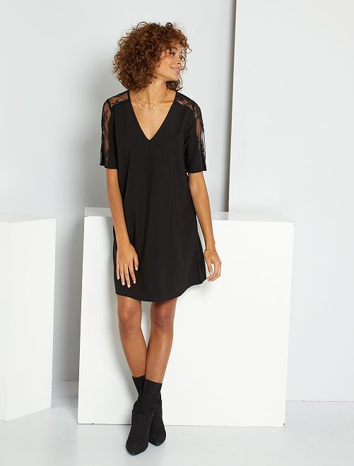 Robe courte dentelle                             noir