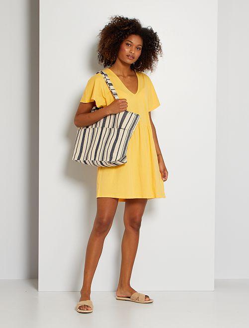 Robe courte en coton                                                                 jaune crème