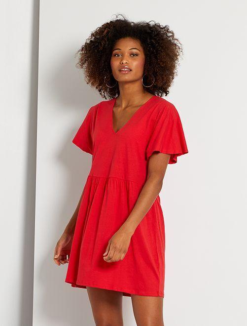 Robe courte en coton                                                                 rouge