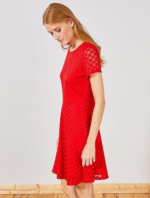 Robe courte en dentelle                                         rouge Femme