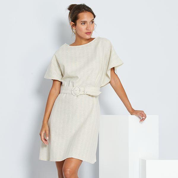 Robe Courte En Lin Et Coton Femme Beige Kiabi 12 60
