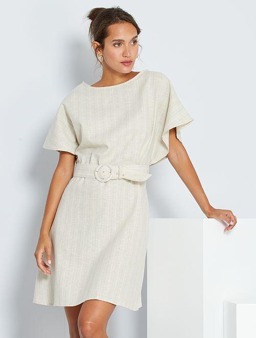 Robe courte en lin et coton                             beige
