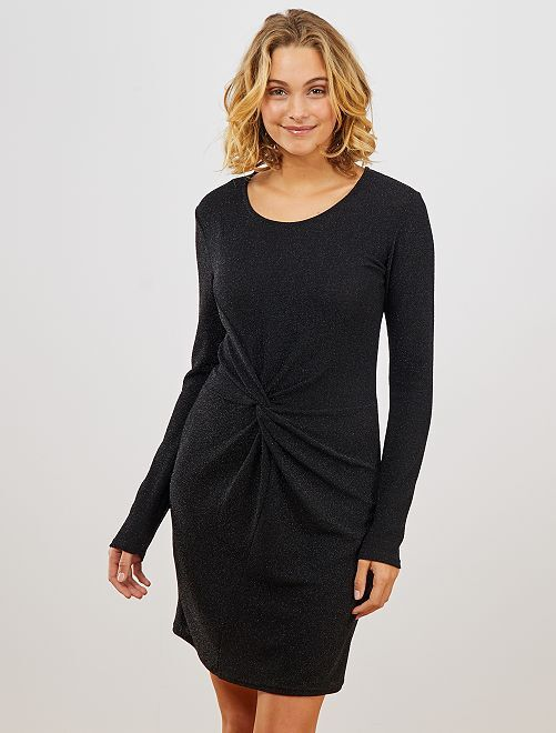 Robe courte en maille brillante                             noir