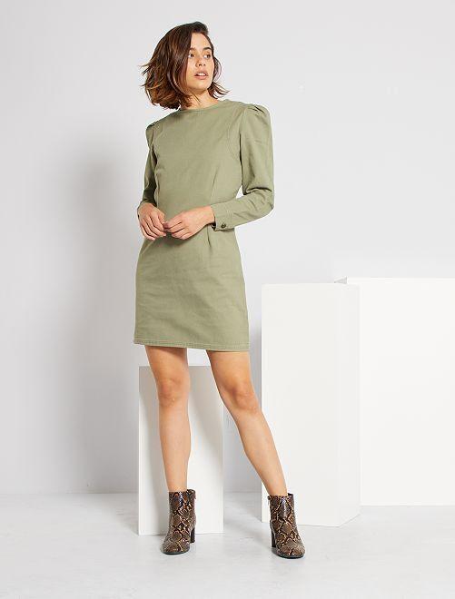 Robe courte en twill                                         kaki