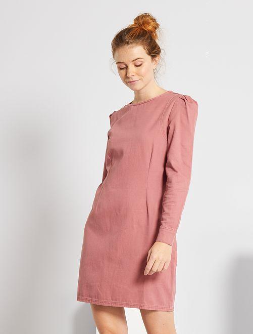 Robe courte en twill                                                     rose