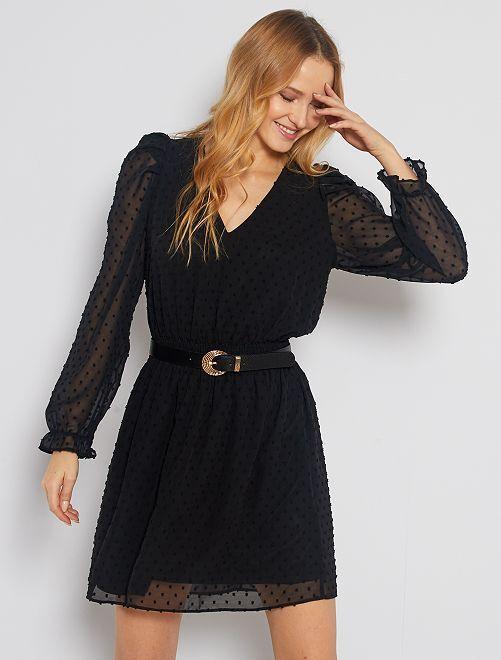 Robe courte en voile plumetis                             noir