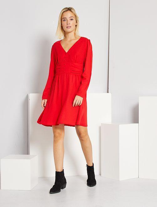 Robe courte en voile                                                     rouge chiné