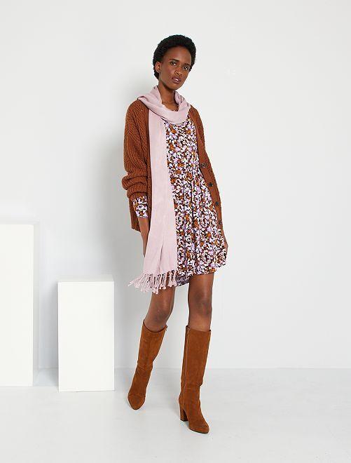 Robe courte fleurie                             NOIR