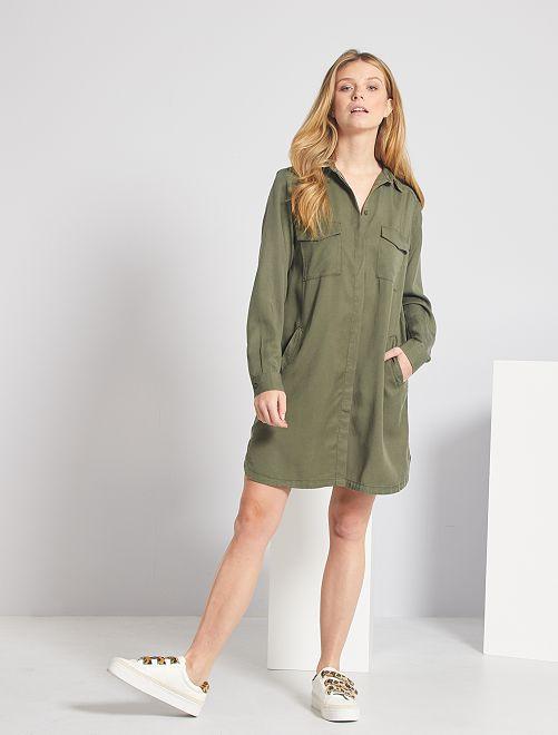 Robe courte forme chemise                                         kaki
