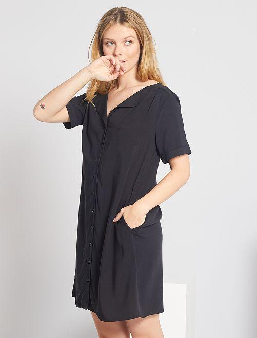 Robe courte forme chemise                                                                             noir