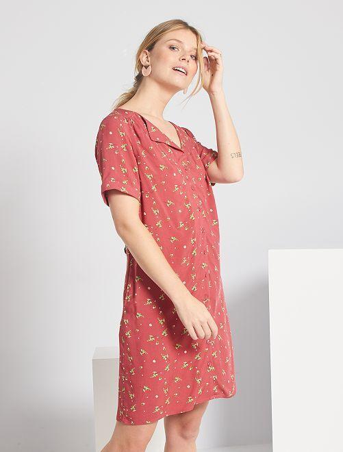 Robe courte forme chemise                                         rose fleuri