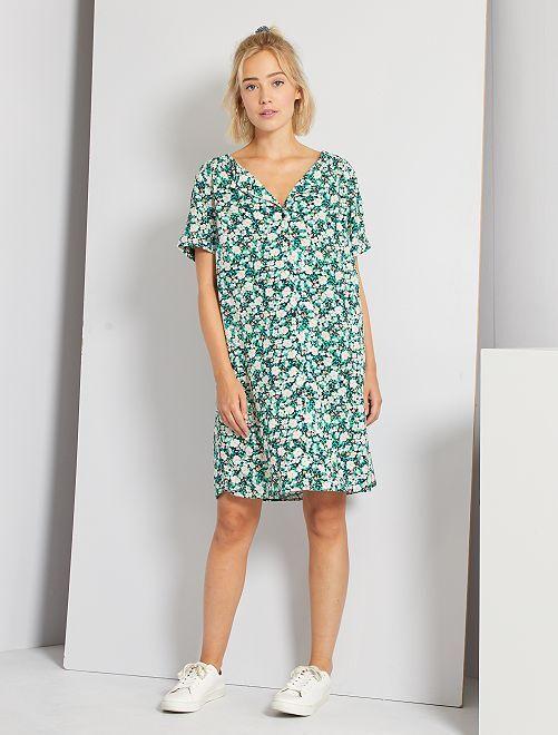 Robe courte forme chemise                                                                 vert fleuri