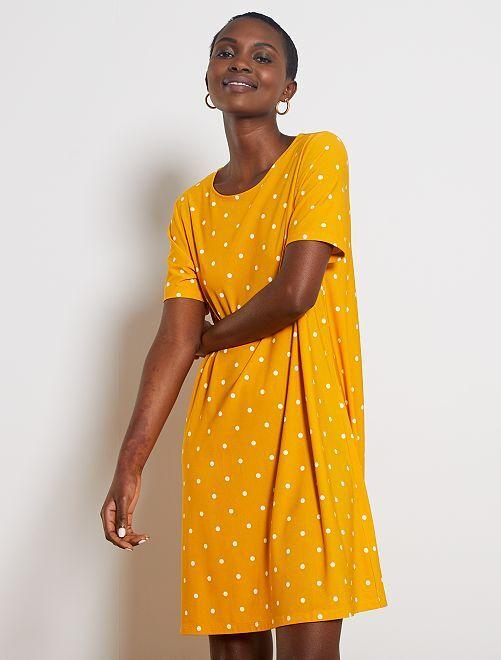 Robe courte forme T-shirt                                                                             jaune à pois