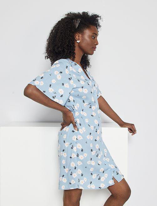 Robe courte imprimé floral                                                                 bleu pâle/fleurs
