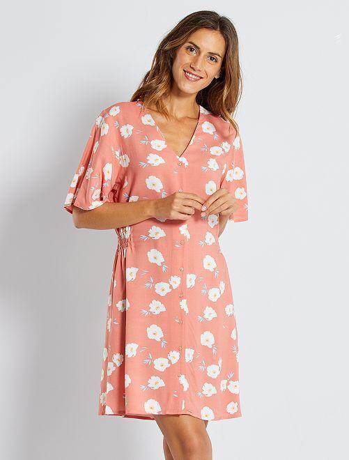 Robe courte imprimé floral                                                                 rose/fleurs