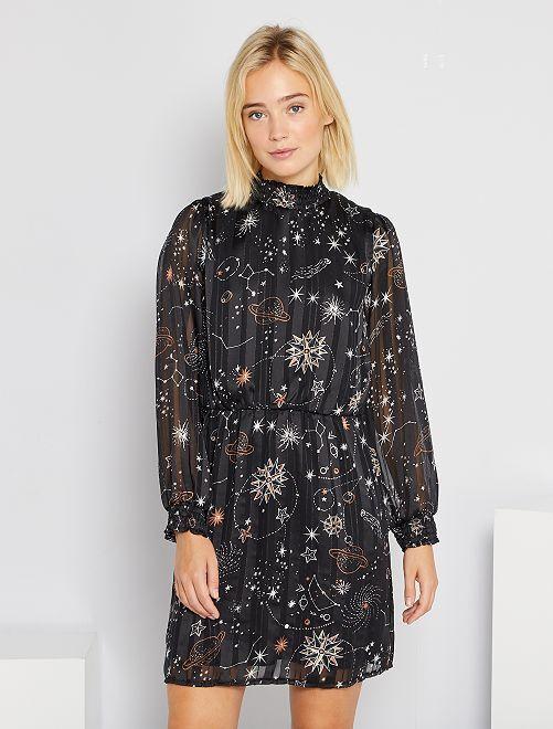 Robe courte imprimée 'étoiles'                             noir