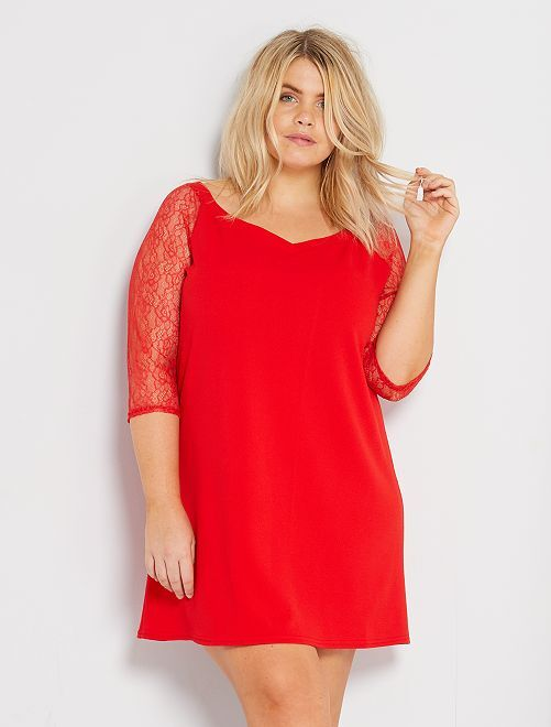 Robe courte manches dentelle                                         rouge