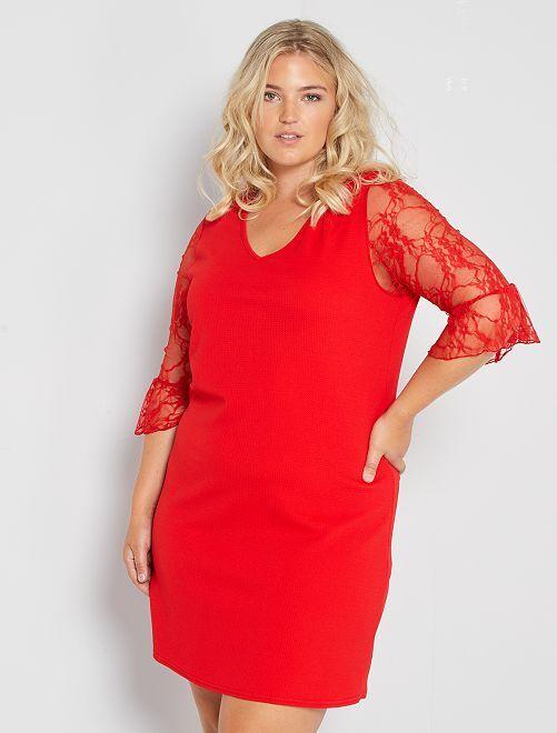 Robe courte manches en dentelle rouge Grande taille femme
