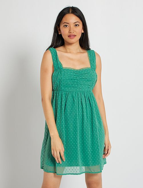 Robe courte plumetis                                         vert pin