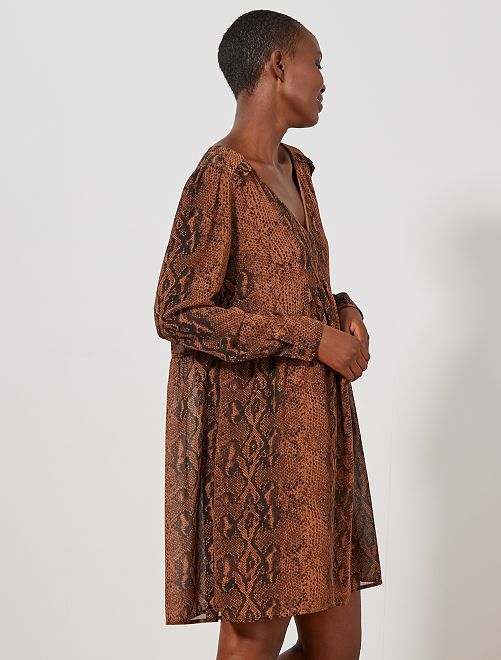 Robe courte style babydoll                                         marron Femme