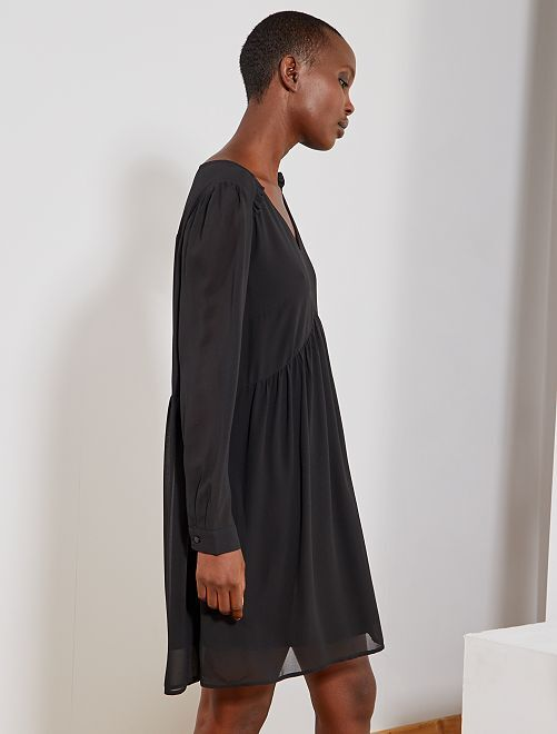 Robe courte style babydoll                                                     noir Femme