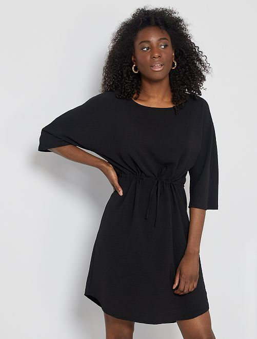 Robe courte taille resserrable                             noir