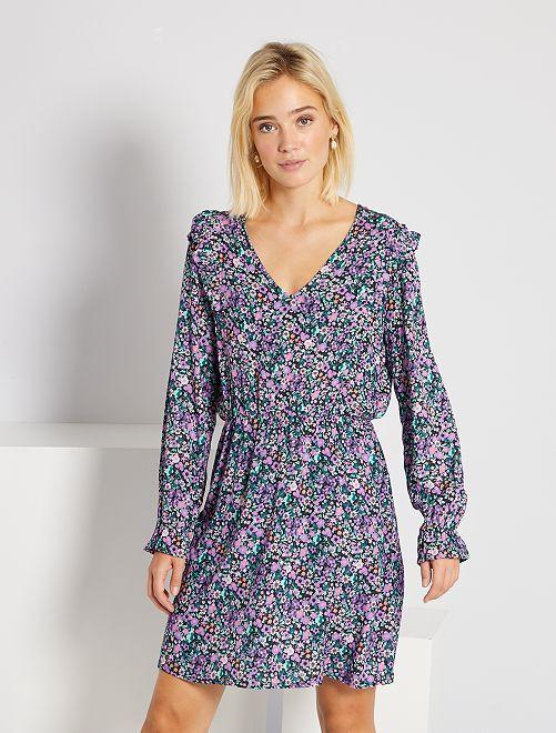 Robe courte volants et fleurs                             violet