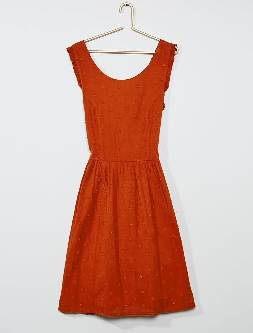Robe crêpe à plumetis                                         orange