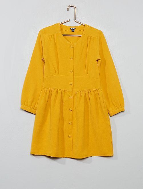 Robe crêpe boutonnée                                         jaune