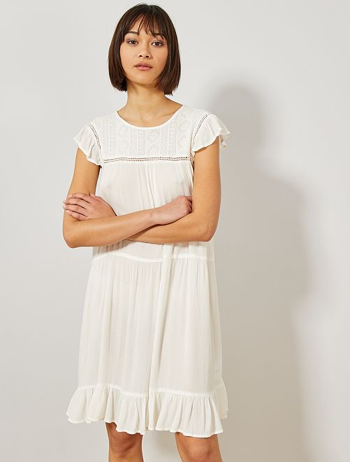 Robe crêpe macramé                     blanc Femme