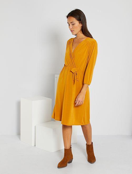 Robe croisée avec nœud                                         jaune