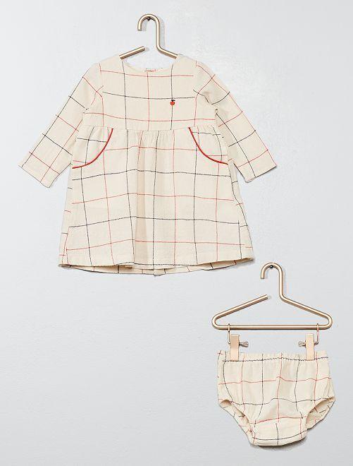 Robe + culotte à carreaux                                         écru Bébé fille