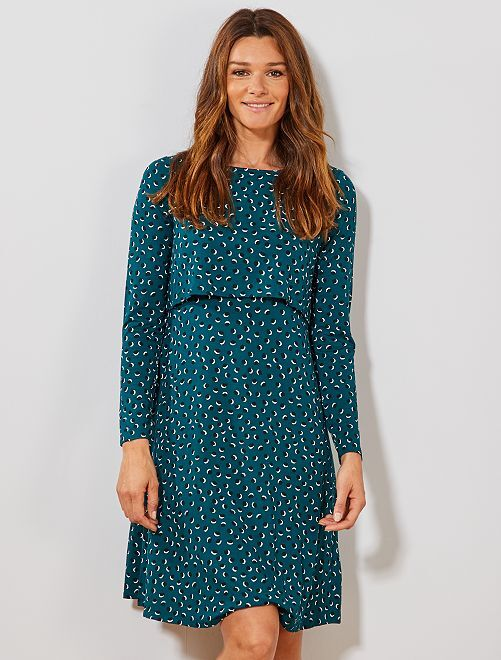 Robe d'allaitement effet 2 en 1                     vert Vêtement de grossesse