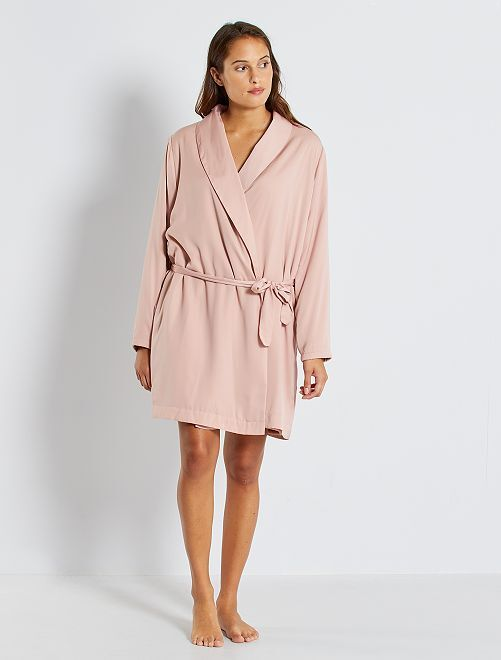 Robe de chambre doublée maille peluche                                         rose