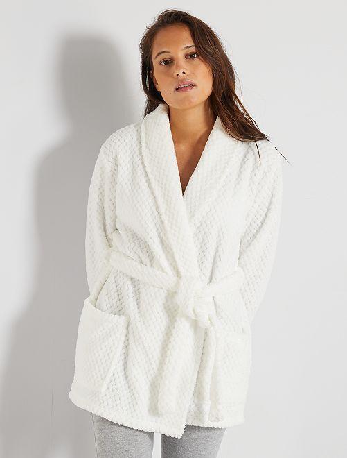Robe de chambre maille peluche                                         blanc neige