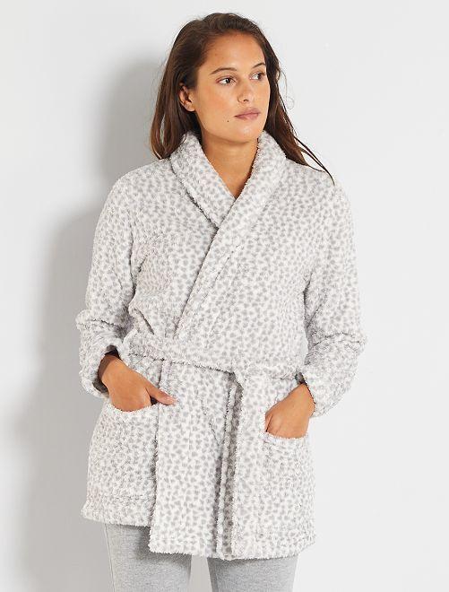Robe de chambre maille peluche                                         blanc/gris