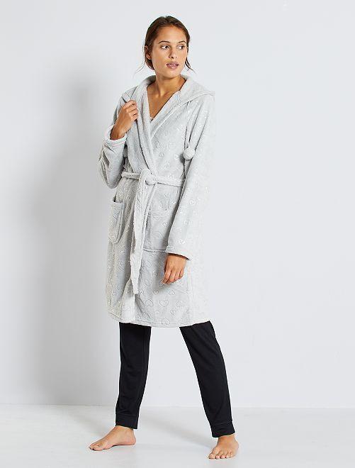 Robe de chambre maille peluche                             gris