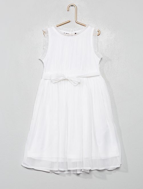 Robe de cortège en mousseline                                                     blanc