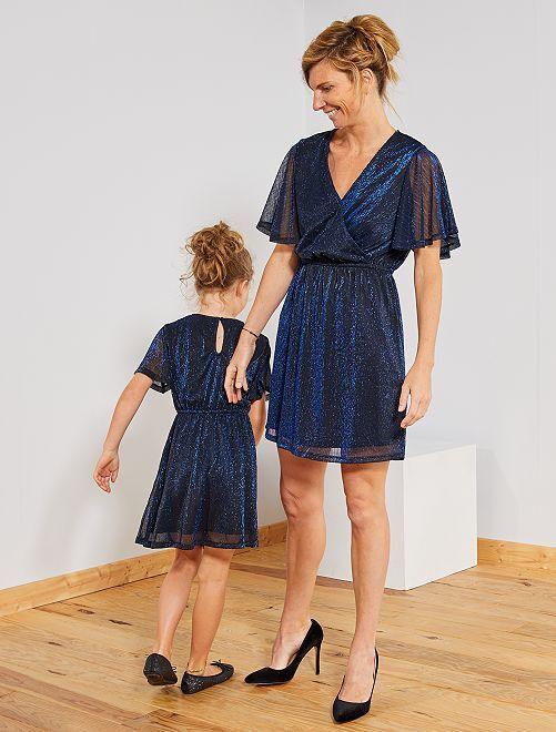 Robe de fêtes plissée brillante                                                     bleu