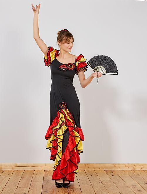 Robe de flamenco                             noir/rouge/jaune