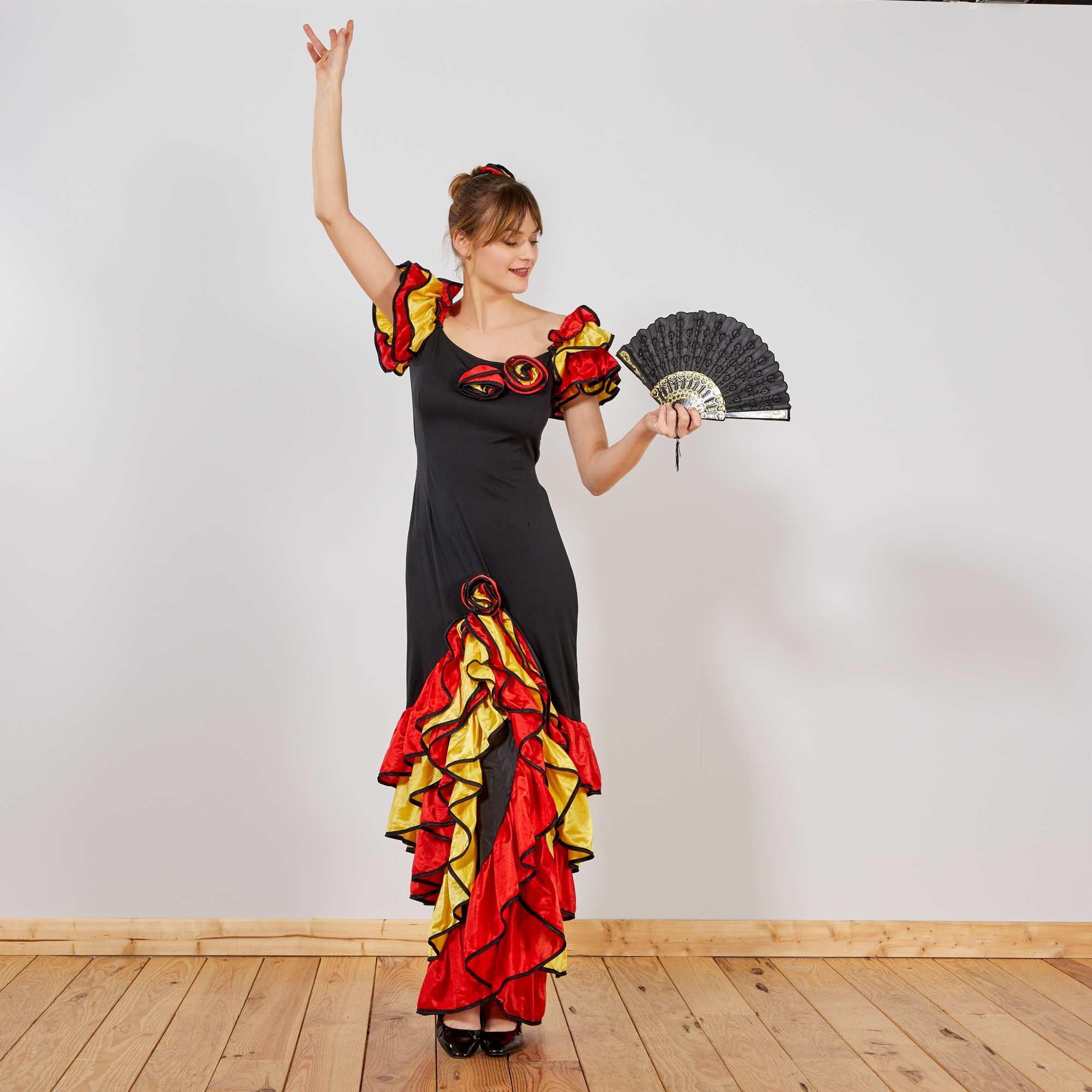 b9049e3448647 Robe de flamenco Femme - noir rouge jaune - Kiabi - 29