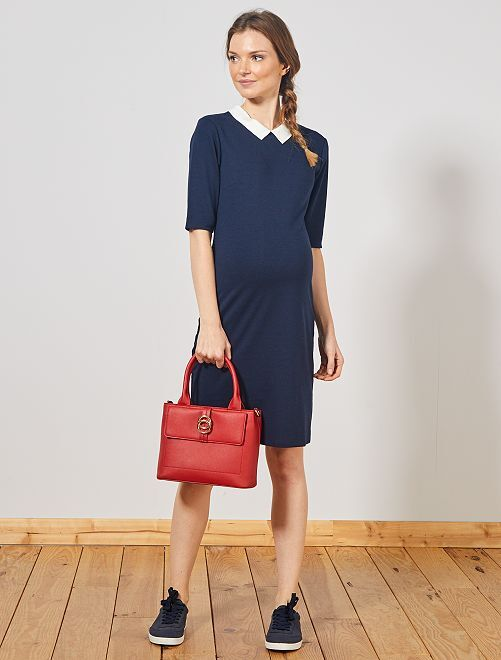 Robe de grossesse à col claudine                                         bleu marine