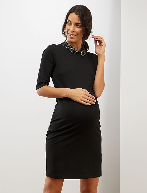 Robe de grossesse à col claudine                                         noir